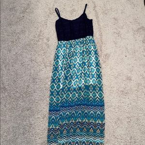 Navy blue maxi dress with colorful bottom design